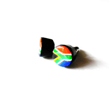 South African Flag Earrings - Patriotic African Pride Stud Earring Set - Hand Painted Wooden Earring - Patriotic Jewelry