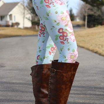 Blue Spring Floral Leggings