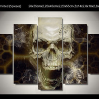 Roar skull abstract canvas wall painting for bar decoration 5 pieces HD wall arts Canvas picture Art HD Print Painting Canvas
