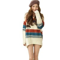 Women's Fawn Colored Stripe Loose Xmas Sweater, One Size