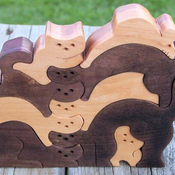 wooden cat and mouse puzzle scroll saw cut  Free Shipping - Handmade Crafts by BasketsByDebi