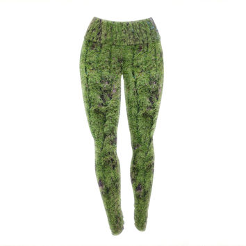 "Susan Sanders ""Emerald Moss"" Green Nature Yoga Leggings"