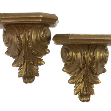 Pedestal Wall Shelves Vintage Plastic Gold Ornate Shelving Rococo Acanthus Leaf Leaves French Regency Shelf Home Hanging Decor Pair