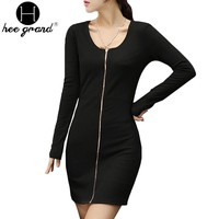 Spring Autumn Fashion Zipper Design Full Sleeve Ladies Sheath Sexy Slim Knited Dress