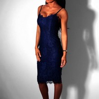 Affection Royal Blue Lace Midi Dress | Pink Boutique