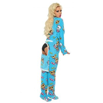 Blue Peek-A-Bear Drop Seat Onesuit Adult Pajamas