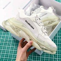 Balenciaga Tripl S Trainers White Sneaker Transparent Sole - Best Online Sale