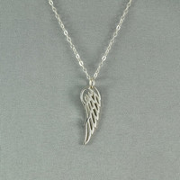 Angel Wing Necklace, 925 Sterling Silver, Modern, Simple, Pretty, Everyday Wear Jewelry