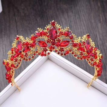 New Fashion Baroque Luxury Red Crystal Bridal Crown Tiaras Vintage Bride Wedding Hair Accessories