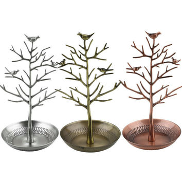 High quality Retro Earring Ring Jewelry vintage Bird Tree Stand Organizer Holder
