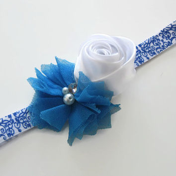 Baby headband blue flower headband -white, blue swirl headband, toddler headband,girls headband, newborn photo prop, baby headband, UK