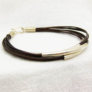 Antique Brown Leather & Sterling Silver Bracelet by byjodi on Etsy