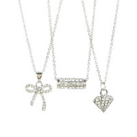 Pave Diamond, Barrel & Bow 3-Pack Necklace Set - Silver