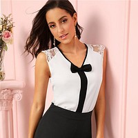 Elegant Guipure Lace Shoulder Contrast Bow Front Top V Neck Sleeveless Blouse Women Office Cute Tops Blouses
