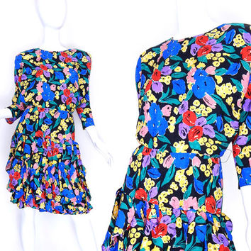 Sz 4 Floral Silk 80s Dress - Vintage Women's Batwing Sleeve Ruffled Flounce Skirt Colorful Flower Print Long Sleeve Dress