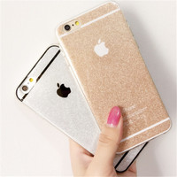 Shinning Sparkling Girl's soft Gel TPU case cover For  iphone 5 5s 6 6s 6+ Plus Macaron Glitter Bling Bling Fundas Capa