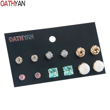 OATHYAN 6 Pairs/Set Cute Crystal Glass Rhinestone Stud Earrings Sets Girl Kids Jewelry Gift Acrylic Beads Earring Mix For Women