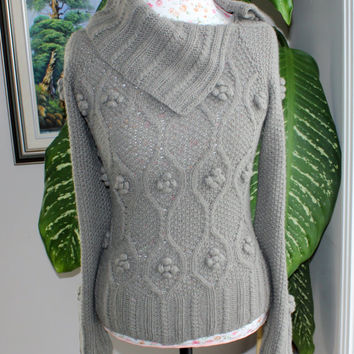 Ready to ship /HANDMADE Knitted Natural Earth Tone Color aran fishermen cable sweater with bobbles/ will fit from small to medium size