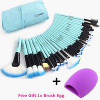 Vander Pro 32 Pcs Makeup Brushes Bag Blue Set Foundation Pinceaux Maquillage Cosmetics Brush Tools Kits + Cleaning Egg Brushegg