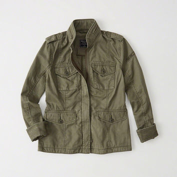 Womens Military Twill Shirt Jacket | Womens Coats & Jackets | Abercrombie.com