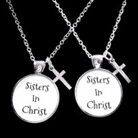 Sisters In Christ Cross Christian Best Friend Gift Friendship Necklace Set