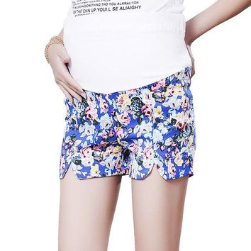 Hot Shorts Flower Summer  For Maternity Elastic Waist Belly  for Pregnant Women Short Trousers of PregnancyAT_43_3