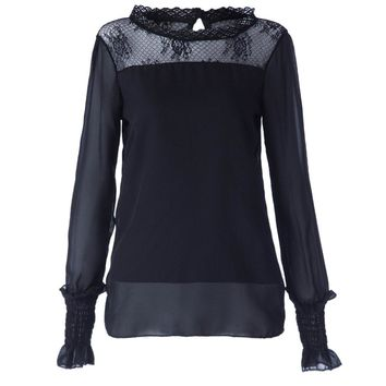 Elegant Stand Collar Lace Splicing Long Sleeve Chiffon Blouse For Women