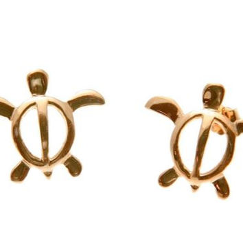 ROSE GOLD PLATED SILVER 925 HAWAIIAN HONU TURTLE STUD POST EARRINGS 16MM