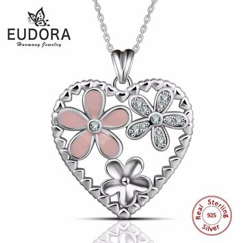 Eudora Exquisite Heart Cherry Blossoms Flower 925 Sterling Silver Pendants & Necklaces Women Sterling-Silver-Jewelry Love Gift