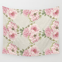 pink peony pattern Wall Tapestry by sylviacookphotography