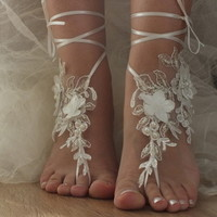 ivory Beach wedding barefoot sandals 3D flowers