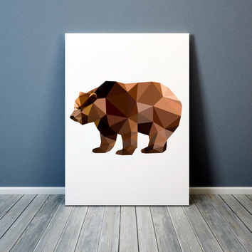 Grizzly print Colorful decor Geometric bear poster Animal art TO304-1