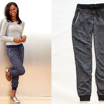 Women's Vintage Washed Jogger Pants Ribbed Ankles Pockets Blue or Charcoal