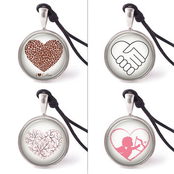Vietguild's Heart in Various Design Necklace Pendants Pewter Silver