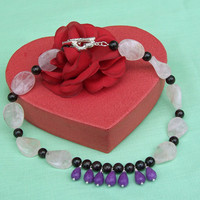 Rose Quartz, Purple Jade and Garnet Necklace, Gemstone Necklace, Purple, Red and Pink Necklace, UK Seller