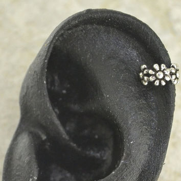 Ear Cuff  Daisy  Cartilage  Sterling Silver  by ChapmanJewelry