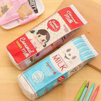 Novelty Milk Box Pencil Pen Case Roll Cosmetic Pouch Pocket Holder Makeup Bag HU