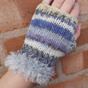Fairisle patterned fingerless gloves with silver fur trim - one size - OOAK - SALE