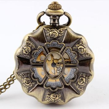 Bronze Full Steel Steampunk Pocket Watch Vintage Hollow Analog Skeleton Mens Womens Pocket Watch P50