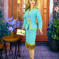 Barbie Doll Clothes - Barbie Doll Skirt Suit Blue and Shimmering Gold