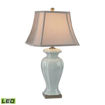 D2632-LED Celadon LED Table Lamp in Glazed Green Ceramic With Antique Brass Accents - Free Shipping!