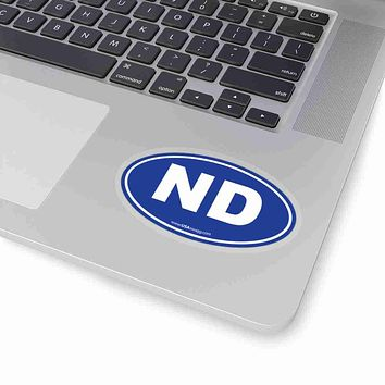 North Dakota NE Euro Oval Sticker SOLID BLUE