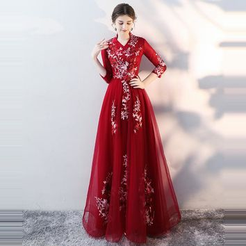 Three Quarter Sleeve Embroidery Lace Floor Length Elegant Evening Dress Party Gown