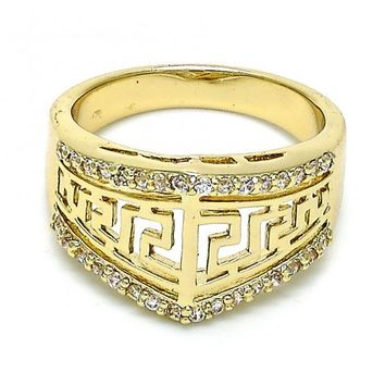 Gold Layered Mult-stone Ring, Greek Key Design, with Cubic Zirconia, Gold Tone