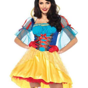 DCCKLP2 2PC.Storybook Snow White,high/low dress and matching hair bow in MULTICOLOR
