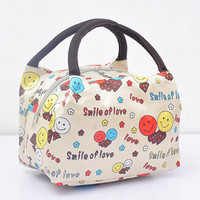 Free Shipping Zipper Closure Lunch Bag For Women Canvas Large Capacity Storage Bento Bag Picnic Pouch Portable Handbag