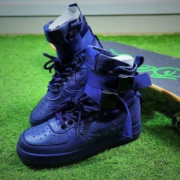 CREYUX5 Nike Special Forces Air Force 1 SF AF1 Boots All Blue Shoes Women Sneaker