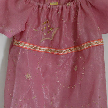 Simple, Ornate Elegance Light Pink Silk Indian Sari Peasant Top with Beading - Upcycle / Recycle 4T