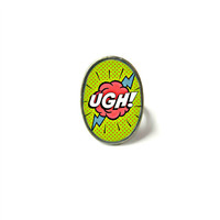 Pop Art Comic Book UGH! Word Bubble Adjustable Ring - Funny and Cute Nerdy Geekery Jewelry for Cosplay or Super Hero Lovers
