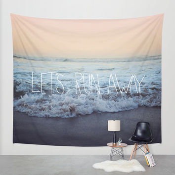 Let's Run Away x Arcadia Beach Wall Tapestry by Leah Flores
